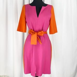 Trina Turk Two Toned Belted Stretch Tunic Dress